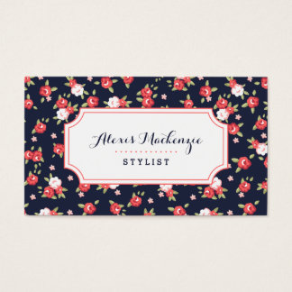 Coral and Navy Chic Vintage Floral Print Business Card