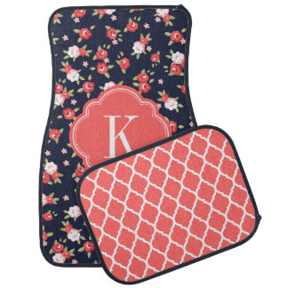 Coral and Navy Chic Vintage Floral Print Monogram Car Mat