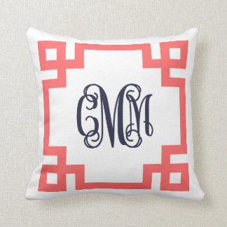 Coral and Navy Greek Key Script Monogram Throw Pillow