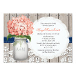Coral And Navy Hydrangea Mason Jar Bridal Shower Card at Zazzle