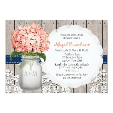 OccasionInvitations Coral and Navy Hydrangea Mason Jar Bridal Shower Card