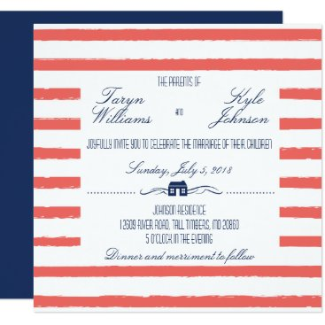 Beach Themed Coral and Navy Lake or Beach Front Wedding Invite