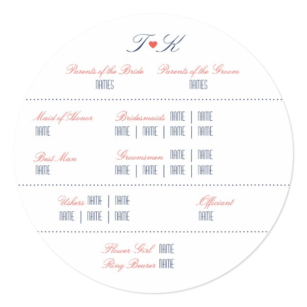 Coral and Navy Lake or Beach Front Wedding Program