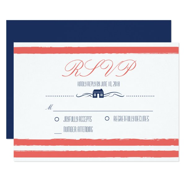 Coral and Navy Lake or Beach Front Wedding RSVP Card