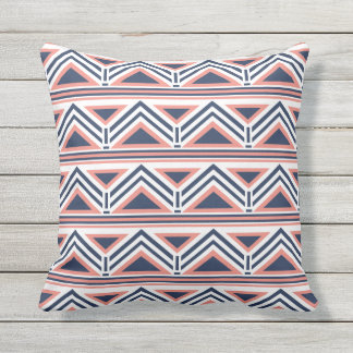 Lovely Coral And Navy Modern Aztec Pattern Outdoor Throw Pillow
