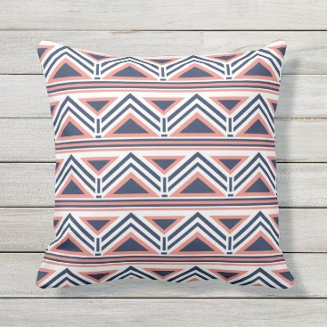 Aztec Themed Coral and Navy Modern Aztec Pattern Outdoor Throw Pillow