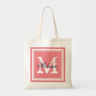 Coral and navy monogram wedding party tote bags