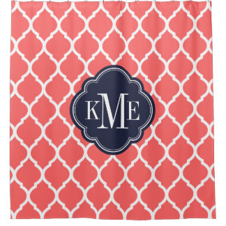 navy and coral shower curtain. Coral and Navy Moroccan Quatrefoil Monogram Shower Curtain Curtains  Zazzle
