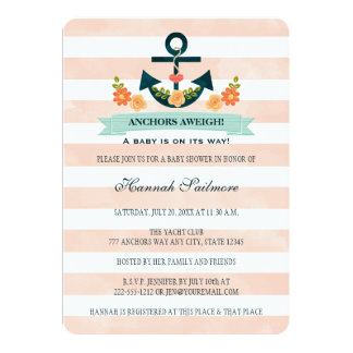 Coral and Navy Nautical Anchor Baby Shower Card