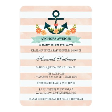 Beach Themed Coral and Navy Nautical Anchor Baby Shower Card