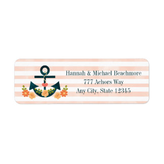 CORAL AND NAVY NAUTICAL ANCHOR FLORAL LABEL