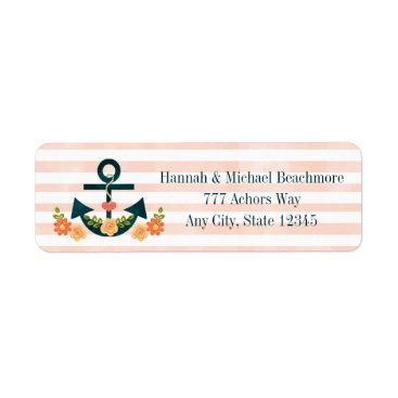 Beach Themed CORAL AND NAVY NAUTICAL ANCHOR FLORAL LABEL