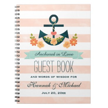 Beach Themed Coral and Navy Nautical Anchor Wedding Guest Book