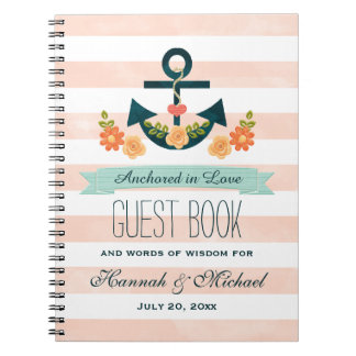 Coral and Navy Nautical Anchor Wedding Guest Book Notebook
