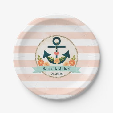 Beach Themed Coral and Navy Nautical Anchor Wedding Shower Paper Plate