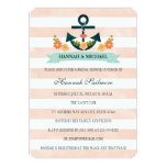 Coral and Navy Nautical Bridal Shower Card