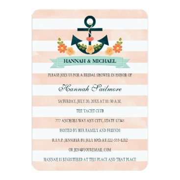 Beach Themed Coral and Navy Nautical Bridal Shower Card