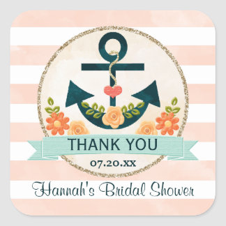 Coral and Navy Nautical Floral Anchor Thank You Square Sticker