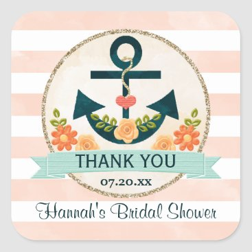 Beach Themed Coral and Navy Nautical Floral Anchor Thank You Square Sticker