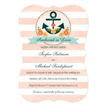 Beach Themed Coral and Navy Nautical Wedding Card