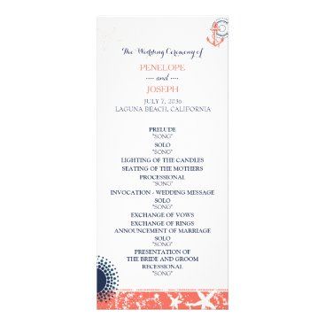 Beach Themed Coral and Navy Nautical Wedding Program