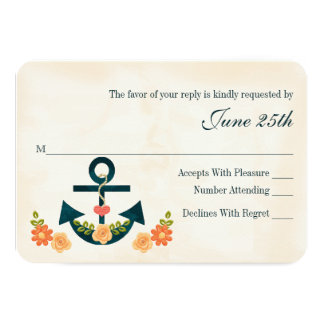Coral and Navy Nautical Wedding RSVP Card