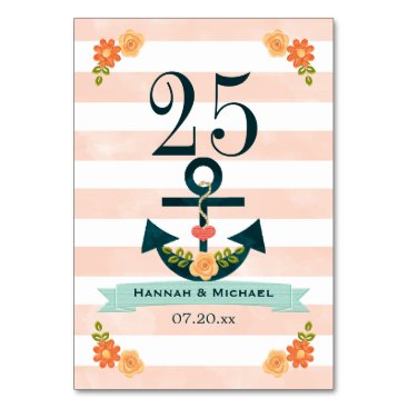 Beach Themed Coral and Navy Nautical Wedding Table Number
