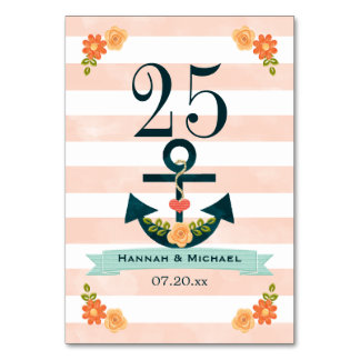 Coral and Navy Nautical Wedding Table Number Card
