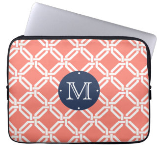 Coral and Navy Octagon Link Monogram Laptop Sleeve