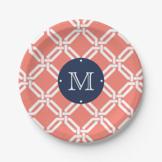Coral and Navy Octagon Link Monogram Paper Plate