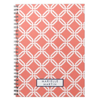 Coral and Navy Octagon Link Monogram Spiral Notebook