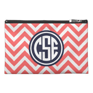 Coral and Navy Preppy Chevron Circle Monogram Travel Accessory Bag