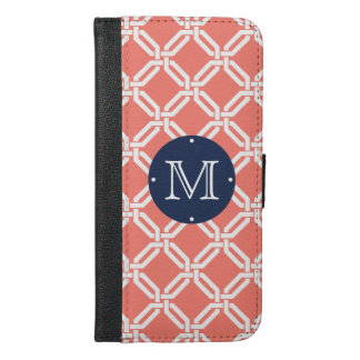 Coral and Navy Preppy Octagon Link Monogram iPhone 6/6s Plus Wallet Case