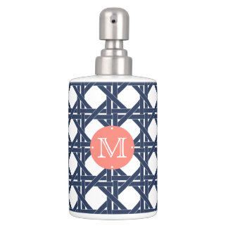 coral and navy rattan basketweave monogram soap dispenser and toothbrush holder