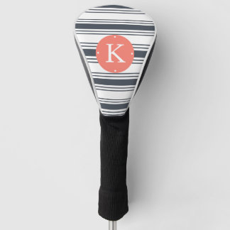 Coral and Navy Stripe Monogram Golf Head Cover