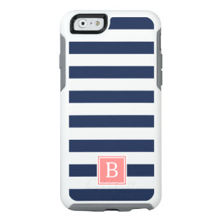 Coral and Navy Stripe Monogram OtterBox iPhone 6/6s Case