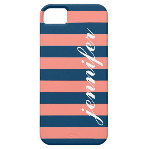 Coral and Navy Stripes   Script Monogram iPhone 5 Case