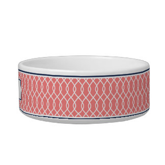 Coral and Navy Trellis Pattern Dog Bowl