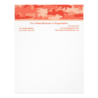 Coral and Orange Camouflage Custom Stationery Letterhead