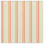 [ Thumbnail: Coral and Pale Goldenrod Colored Stripes Pattern Fabric ]