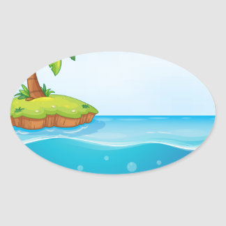 coral and palm tree on island oval sticker