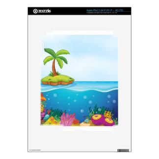 coral and palm tree on island iPad 3 skins