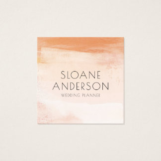 Coral and Peach Watercolor Wash Business Card