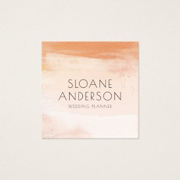 Professional Business Coral and Peach Watercolor Wash Business Card