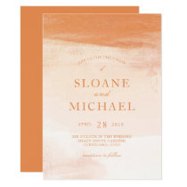 Coral and Peach Watercolor Wash Modern Wedding Card