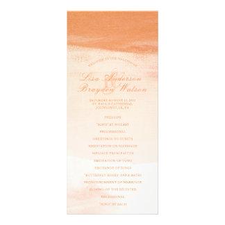 Coral and Peach Watercolor Wash Wedding Program