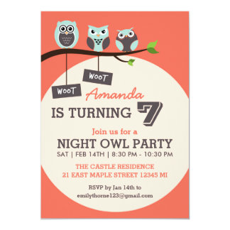 Coral and Pink Night Owl Birthday Party Invitation