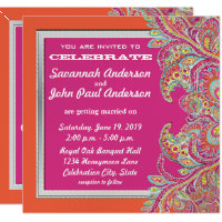 Coral and Pink Paisley Peacock Wedding Invitations