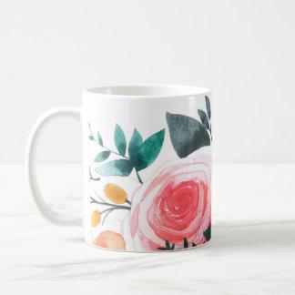 Coral and Pink Roses Coffee Mug