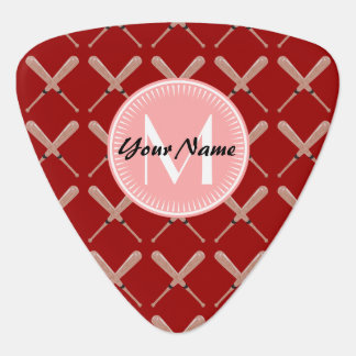 Coral and Red Baseball Bat Pattern Personalized Guitar Pick